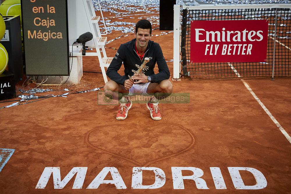 May 12, 2019 - Madrid, Spain - Novak Djokovic from Serbia after the Mutua Madrid Open Masters final match on day eight at Caja Magica in Madrid, Spain. Novak Djokovic beat Stefanos Tsitsipas. May 12, 2019. (Credit Image: © A. Ware/NurPhoto via ZUMA Press)