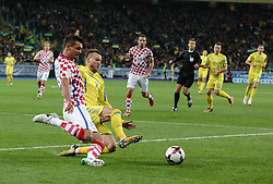 October 9, 2017 - Kiev, Ukraine - Andriy Yarmolenko (R)  of Ukraine, in action against Croatian Dejan Lovren (L)  during the FIFA 2018 World Cup Group I Qualifier between Ukraine and Croatia at Kiev Olympic Stadium on October 9, 2017 in Kiev, Ukraine. Ukraine fail to reach the play-offs as they lose 2-0. (Credit Image: © Sergii Kharchenko/NurPhoto via ZUMA Press)