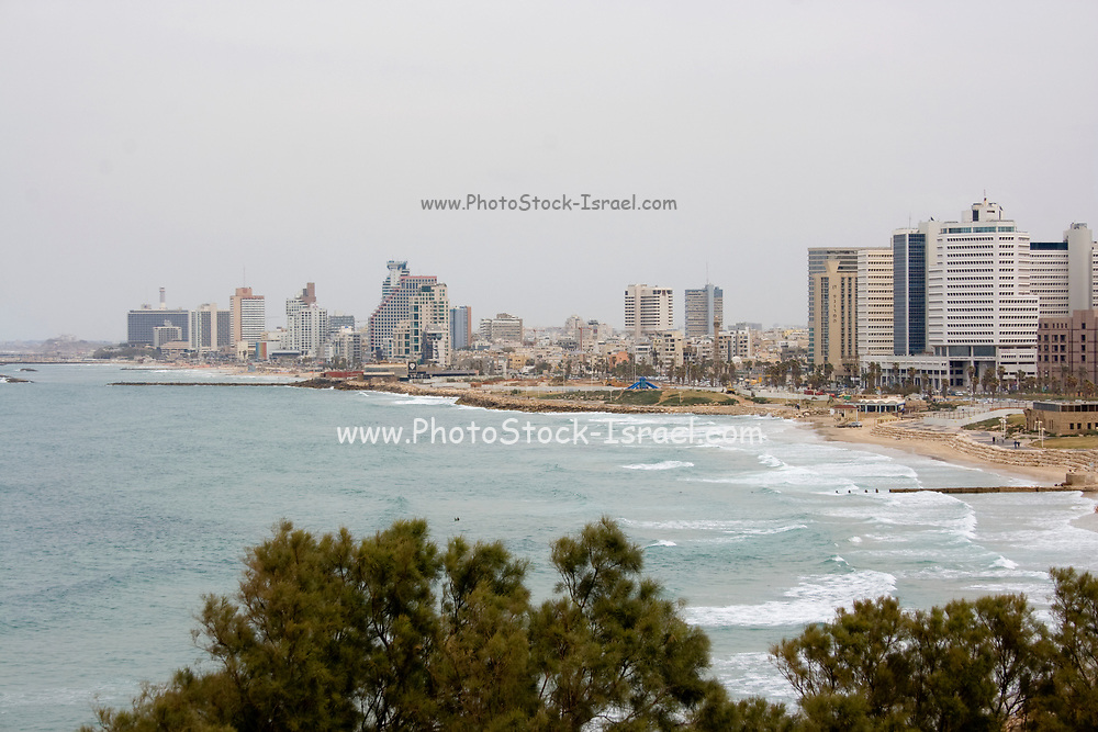Tel Aviv waterfront and skyline as seen from the south from Jaffa. The Mediterranean Sea on the left