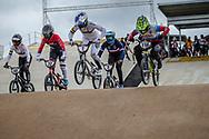 #7 (SAKAKIBARA Saya) AUS and #116 (AFREMOVA Natalia) RUS at Round 3 of the 2020 UCI BMX Supercross World Cup in Bathurst, Australia.