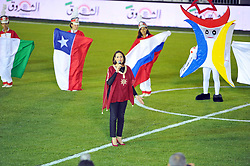 October 6, 2017 - Nabeul, Tunisia - Majdoline Hinges Minister of Youth and Sport during the ceremony of the start of the World Cup mini football 2017...Ceremonie the kickoff of the World Cup mini-football, held from 6 to 15 October in Nabeul (60 km south of Tunis) Tunisia this Friday, October 6, 2017 with the participation of 24 teams from different countries world. (Credit Image: © Chokri Mahjoub via ZUMA Wire)