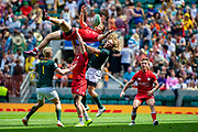 Twickenham, United Kingdom 25th May 2019 HSBC London Sevens,  Canadian Harry JONES defleting the high ball from the horizontal, during the South Africa vs Canada, played at  the  RFU Stadium, Twickenham, England, <br /> © Peter SPURRIER: Intersport Images<br /> <br /> 14:37:04 25.05.19