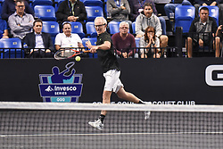 October 4, 2018 - St. Louis, Missouri, U.S - JOHN MCENROE with the backhand return during the Invest Series True Champions Classic on Thursday, October 4, 2018, held at The Chaifetz Arena in St. Louis, MO (Photo credit Richard Ulreich / ZUMA Press) (Credit Image: © Richard Ulreich/ZUMA Wire)