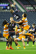 Darcy Graham takes a catch during the Guinness Pro 14 2018_19 match between Edinburgh Rugby and Toyota Cheetahs at BT Murrayfield Stadium, Edinburgh, Scotland on 5 October 2018.
