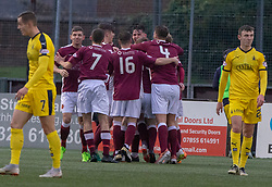Stenhousemuir's Conor McBrearty (22) cele scoring their second goal. Half time : Stenhousemuir 2 v 2 Falkirk, 3rd Round of the William Hill Scottish Cup played 24/11/2018 at Ochilview Park, Larbert.