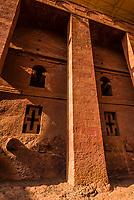 Bet Medhane Alem, one of 11 rock hewn medieval monolithic churches in Lalibela, Ethiopia.