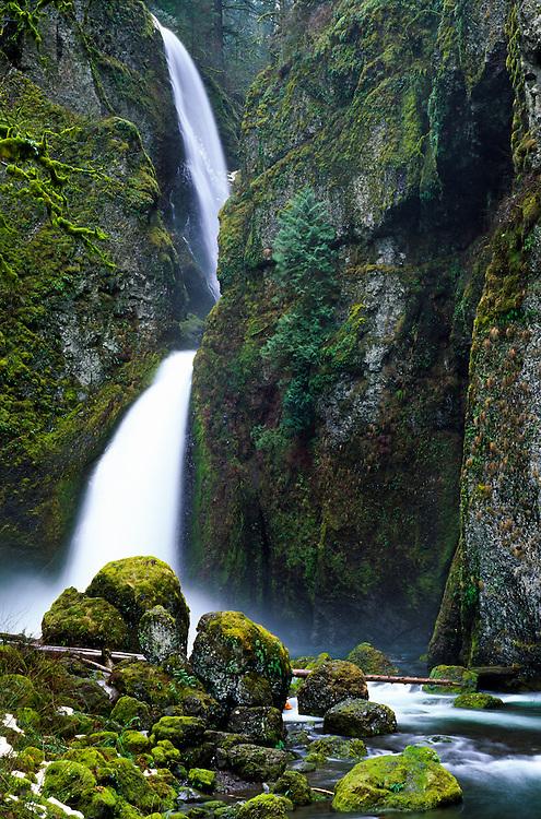 Wahclella Falls on Tanner Creek, Columbia River Gorge National Scenic Area, Oregon, US