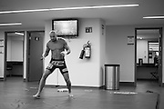 Cathal Pendred warms up backstage before his fight against Augusto Montano during UFC 188 at the Mexico City Arena in Mexico City, Mexico on June 13, 2015. (Cooper Neill)