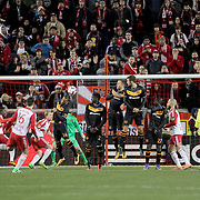 Sacha Kljestan, New York Red Bulls, takes a free kick as the Houston wall defends during the New York Red Bulls Vs Houston Dynamo, Major League Soccer regular season match at Red Bull Arena, Harrison, New Jersey. USA. 19th March 2016. Photo Tim Clayton
