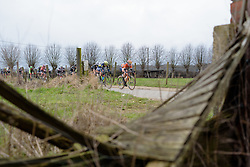 Amy Pieters on the front with two laps to go at the 127 km Omloop van het Hageland on February 26th 2017, starting and finishing in Tielt Winge, Belgium. (Photo by Sean Robinson/Velofocus)