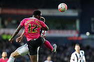 Peterborough's Ricardo Santos (12) beats West Brom's Gareth McCauley to a header. The Emirates FA Cup, 4th round match, West Bromwich Albion v Peterborough Utd at the Hawthorns stadium in West Bromwich, Midlands on Saturday 30th January 2016. pic by Carl Robertson, Andrew Orchard sports photography.