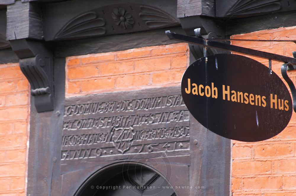 Jacob Hansens Hus on Norra Storgatan built 1641, the oldest non-religious house in the city. Helsingborg, Skane, Scania. Sweden, Europe.