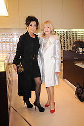 Left to right, NANCY DELL'OLIO and LIZ BREWER at the Recognise magaine launch party at the exclusive Swarovski Crystallized Lounge, 24 Great Marlborough Street, London on 13th April 2010.