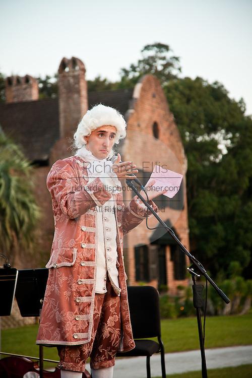 Historic re-enactor dressed as Wolfgang Amadeus Mozart at historic Middleton Place Plantation Charleston, SC.