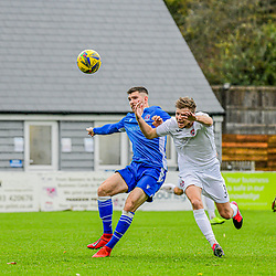 Zack Kotwica Swindon Supermarine and Connor Riley-Lowe Truro City challenge for the ball at the Webbswood 24/10/2020