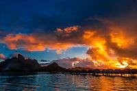 View from the Four Seasons Resort to the main island of Bora Bora (Mount Otemanu and Pahia, an extinct volcano), Society Islands, French Polynesia.