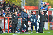 Forest Green Rovers manager, Mark Cooper on the sideline as 4 mins added time is shown during the EFL Sky Bet League 2 match between Stevenage and Forest Green Rovers at the Lamex Stadium, Stevenage, England on 21 October 2017. Photo by Adam Rivers.