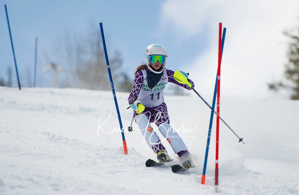 Paul Ladouceur Slalom U14 girls with the Gunstock Ski Club.  ©2017 Karen Bobotas Photographer