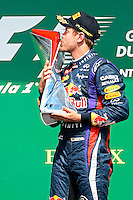 MOTORSPORT - F1 2013 - GRAND PRIX OF CANADA - MONTREAL (CAN) - 07 TO 09/06/2013 - PHOTO ERIC VARGIOLU / DPPI VETTEL SEBASTIAN (GER) - RED BULL RENAULT RB9 - AMBIANCE PORTRAIT<br /> PODIUM - AMBIANCE