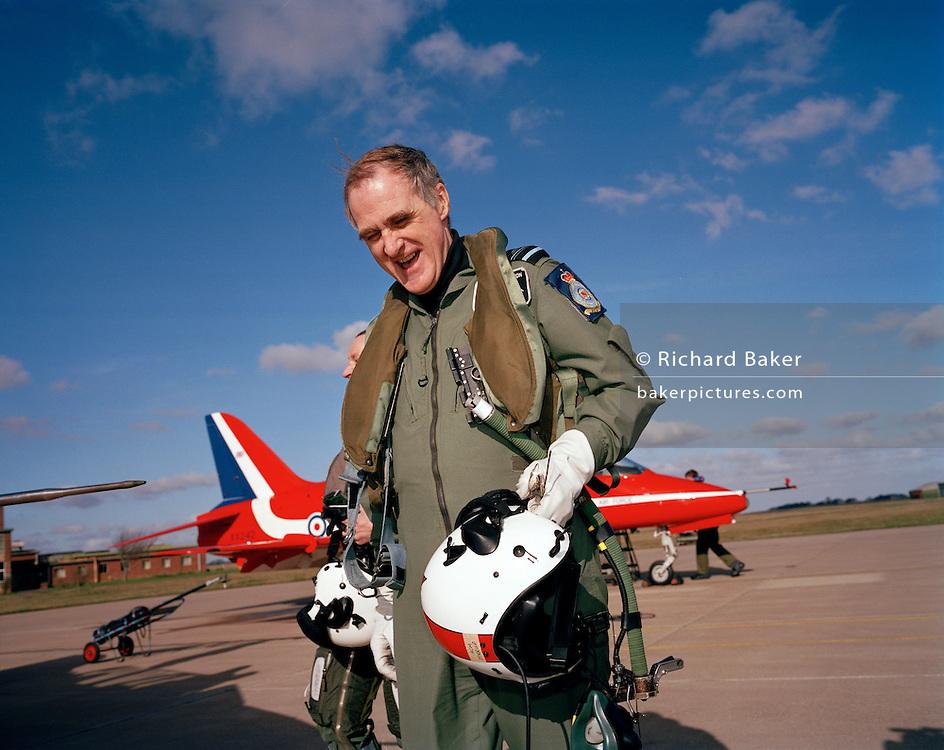 Former Chief of the Air Staff Sir Jock Stirrup pays visit to Red Arrows, Britain's Royal Air Force aerobatic team. ..Air Chief Marshal Sir Graham Eric (Jock) Stirrup