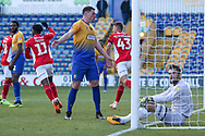 Toby Stevenson of Charlton Athletic (43) celebrates scoring a goal during the The FA Cup match between Mansfield Town and Charlton Athletic at the One Call Stadium, Mansfield, England on 11 November 2018.