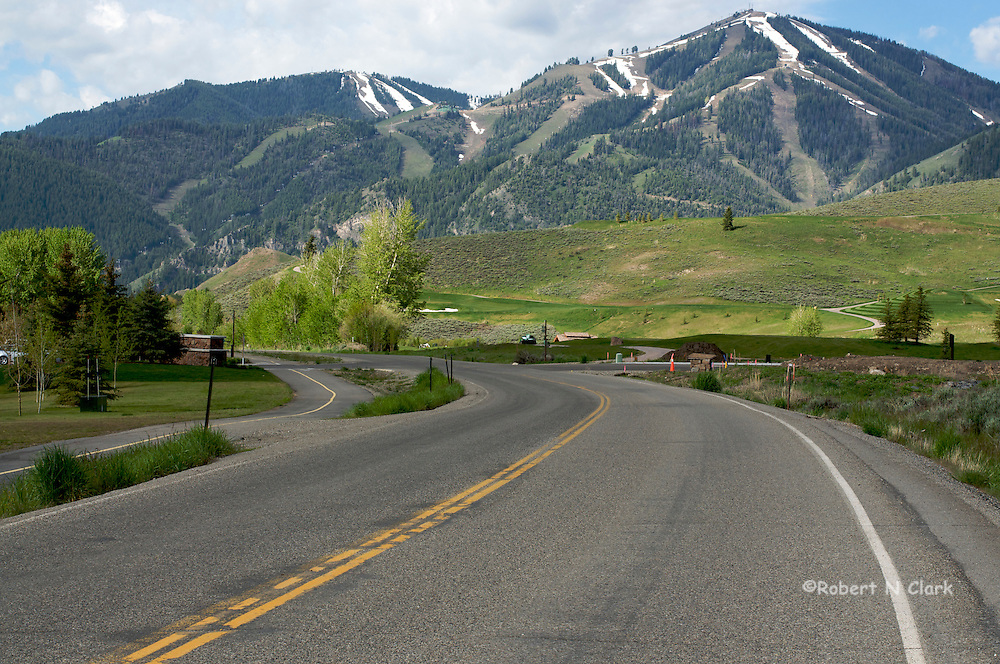 Sun Valley Ski Mountain on a summer morning seen from Trail Creek Rd
