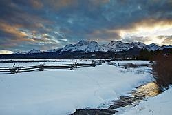 Sawtooth Range at sunset in Stanley, Idaho