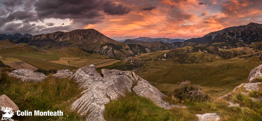Limestone landscape, panorama over Porter river at sunset, Castle Hill basin, Canterbury