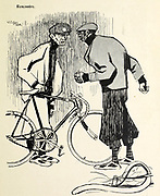 Traffic accident between two bicycles From the Book Das Narrenrad : Album fröhlicher Radfahrbilder [The fool's wheel: album of happy cycling pictures] by Feininger, Lyonel, 1871-1956, illustrator; Heilemann, Ernst, 1870- illustrator; Hansen, Knut, illustrator; Fürst, Edmund, 1874-1955, illustrator; Edel, Edmund, illustrator; Schnebel, Carl, illustrator; Verlag Otto Elsner, printer. Published in Germany in 1898
