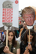 Protests against the state visit of US President Donald Trump on 4th June 2019 in London, United Kingdom. Organisers Together Against Trump which is a collaboration between the Stop Trump Coalition and Stand Up To Trump, have organised a carnival of resistance, a national demonstration to protest against President Trump's policies and politics during his official UK visit.