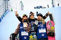 Snowboard , X-Games Oslo <br /> 27. Februar 2016  , 20160226<br /> Snowboard, Big Air Tøyen<br /> Seierspallen etter kvinnenes Big Air for snowboard Cheryl Maas (1), Christy Prior (2) og Kjersti Oestgaard Buaas (3)<br /> Foto: Sjur Stølen / Digitalsport