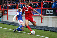 Accrington Stanley defender Ben Richards-Everton (5) and Ipswich players contest a loose ball  during the The FA Cup 3rd round match between Accrington Stanley and Ipswich Town at the Fraser Eagle Stadium, Accrington, England on 5 January 2019.