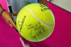 PORTOROZ, SLOVENIA - SEPTEMBER 18:  Ball with autographs  during the WTA 250 Zavarovalnica Sava Portoroz at SRC Marina, on September 18, 2021 in Portoroz / Portorose, Slovenia. Photo by Vid Ponikvar / Sportida