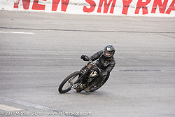 Matt Walksler racing his 1924 Harley-Davidson Model J 61 inch racer in Billy Lane's Sons of Speed vintage motorcycle racing during Biketoberfest. Daytona Beach, FL, USA. Saturday October 21, 2017. Photography ©2017 Michael Lichter.