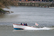 Hammersmith, Greater London. 15th  March 2020, Umpires Launch, Sarahanne, speeding back to Putney to start the next race,  Championship Course, Putney to Mortlake, River Thames, [Mandatory Credit: Peter SPURRIER/Intersport Images],