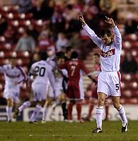 Photo: Jed Wee.<br /> Middlesbrough v Stuttgart. UEFA Cup. 23/02/2006.<br /> <br /> Stuttgart's former Liverpool defender Markus Babbel celebrates as his team take the lead.