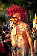 Costumed revelers during Fantasy Fest halloween parade in Key West, Florida.