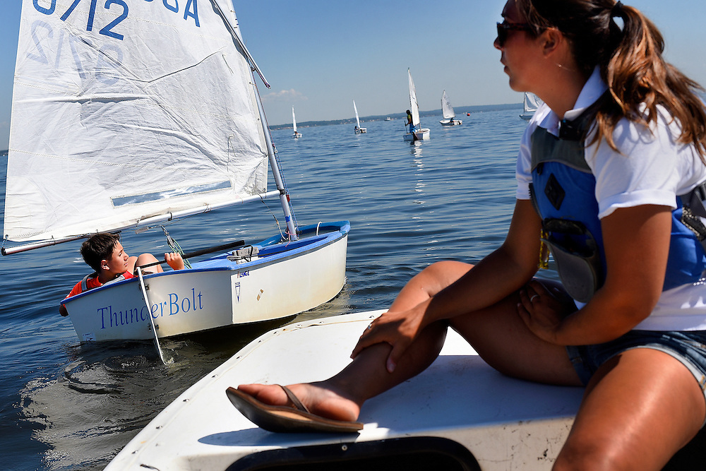 Young sailors participate in the Junior Sailing Regatta held by the Keyport Yacht Club along the Raritan Bay in Keyport on July 24, 2015. The all-day event attracts about 60 junior sailors, ages 8-17, from area sailing clubs to compete in beginner-and-advanced-level race classes.