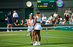 LONDON, ENGLAND - Thursday, July 11, 2019: Barbora Strycova (CZE) (lL) shakes hands with Serena Williams (USA) after the Ladies' Singles semi-final match on Day Ten of The Championships Wimbledon 2019 at the All England Lawn Tennis and Croquet Club. Williams won 6-1, 6-2. (Pic by Kirsten Holst/Propaganda)