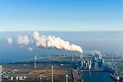 Nederland, Groningen, Eemshaven, 04-11-2018; energielandschap aan de Eemshaven met de kolengestookte elektriciteitscentrale Eemscentrale van RWE (voorheen RWE_Essent).<br /> Energy landscape at the Eemshaven with the coal-fired Eemscentrale power plant from RWE (formerly RWE_Essent).<br /> luchtfoto (toeslag op standaard tarieven);<br /> aerial photo (additional fee required);<br /> copyright© foto/photo Siebe Swart