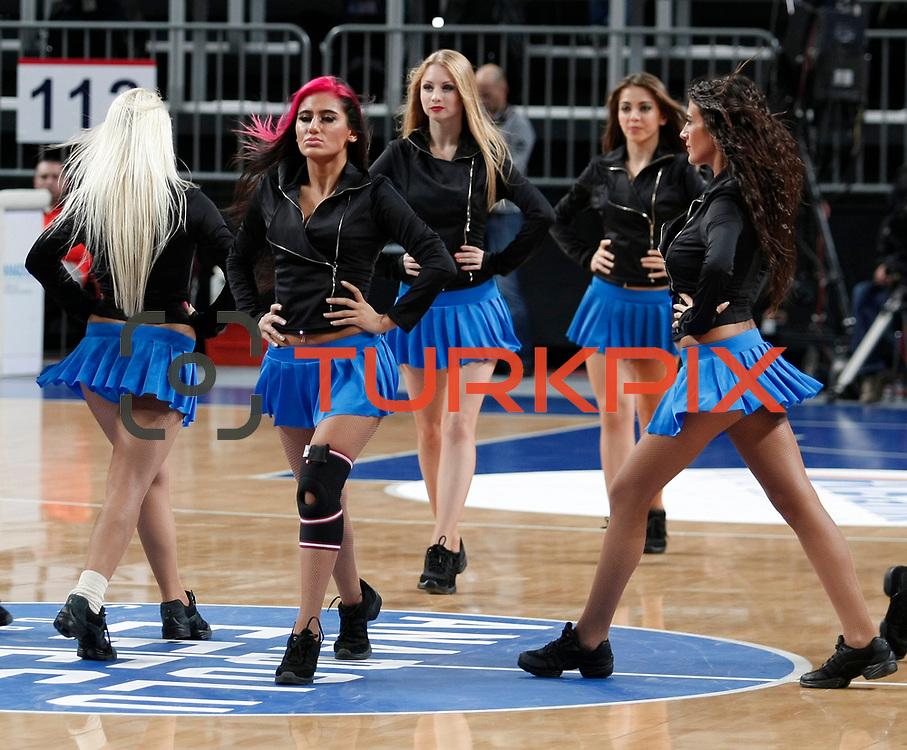 Anadolu Efes's show girls during their Turkish Airlines Euroleague Basketball Group C Game 8 match Anadolu Efes between EA7 Emporio Armani Milan at Sinan Erdem Arena in Istanbul, Turkey, Wednesday, December 07, 2011. Photo by TURKPIX