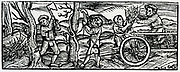 Kitchen scene, possibly at an inn. Woodcut from 'Calendarum Romanum Magnum',  1518.
