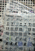 Letraset symbols sheet