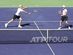 March 16, 2019 - Indian Wells, CA, U.S. - INDIAN WELLS, CA - MARCH 16: Tommy Haas (GER) teamed with  John McEnroe (USA)  in an exhibition doubles match against Pete Sampras (USA) and Novak Djokovic (SRB) after Rafael Nadal (ESP) pulled out of the BNP Paribas Open with a sore knee on March 16, 2019, at Indian Wells Tennis Garden in Indian Wells, CA. (Photo by Cynthia Lum/Icon Sportswire) (Credit Image: © Cynthia Lum/Icon SMI via ZUMA Press)