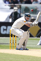 © Licensed to London News Pictures. 27/12/2013. Chris Rogers ducks a bouncer during Day 2 of the Ashes Boxing Day Test Match between Australia Vs England at the MCG on 27 December, 2013 in Melbourne, Australia. Photo credit : Asanka Brendon Ratnayake/LNP