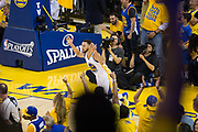 Golden State Warriors guard Stephen Curry (30) celebrates a basket against the Utah Jazz during Game 1 of the Western Conference Semifinals at Oracle Arena in Oakland, Calif., on May 2, 2017. (Stan Olszewski/Special to S.F. Examiner)