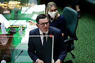 Premier Daniel Andrews looks on during Question Time