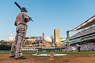 Baltimore Orioles 3rd baseman Wilson Betemit #24 waits on-deck during a game against the Minnesota Twins at Target Field in Minneapolis, Minnesota on July 16, 2012.  The Twins defeated the Orioles 19 to 7 setting a Target Field record for runs scored by the Twins.  © 2012 Ben Krause