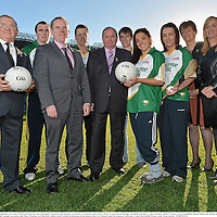 28 November 2012; Uachtarán Chumann Lúthchleas Gael Liam Ó Néill, with, from left, Joe O'Donoghue, President of the Rounders Association, Clare hurler Niall Arthur, Chris Curran, National Manager, Handball Association,  Mayo footballer Cillian O'Connor, Galway handballer Martin Mulkerrins, Dublin ladies footballer Sineád Goldrick, Wexford camogie player Ursula Jacob, Aileen Lawlor, President of the Camogie Association, and Helen O'Rourke, Ard Stiurthóir, Ladies Gaelic Football, in attendance at the launch of the GAA Annual Games Development Conference. Croke Park, Dublin. Picture credit: Brian Lawless / SPORTSFILE