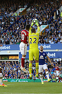Alvaro Negredo of Middlesbrough jumps with Everton Goalkeeper Maarten Stekelenburg and wins the header  leading to an own goal scored by Everton Goalkeeper Maarten Stekelenburg for Middlesbrough's 1st goal. Premier league match, Everton v Middlesbrough at Goodison Park in Liverpool, Merseyside on Saturday 17th September 2016.<br /> pic by Chris Stading, Andrew Orchard sports photography.